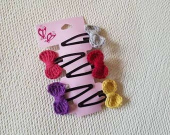 Mini Crochet Bow Hair Clips