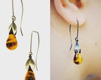 Tigers Eye Lotus Drop Earrings