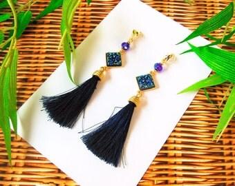 Bamboleira Blue Tassel, Goldfilled Earrings, Handmade, Colombian Designer, Unique Designs
