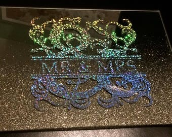 mirrored placemats, holographic vinyl, personalised, wedding gift, birthday present, dinner mats, mr and mrs, bespoke