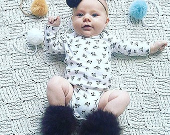 Rabbit fur pompom Newborn Baby headband set of three