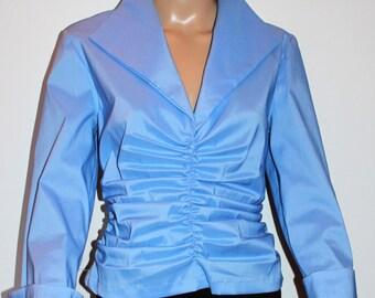 90s Vintage Tadashi Taffeta Gray/Blue Evening Blouse