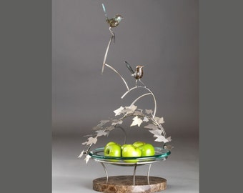 Centerpiece - Fairy Wrens Bronze Sculpture with Glass (Fruit) Bowl Handcast by Jake Mikoda with original multi-patina - Great Gift for Home