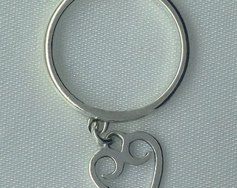 James Avery dangle heart ring in sterling silver