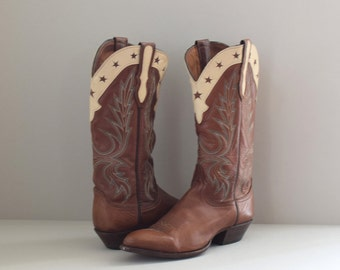 Stella | vintage western inlay boots with stars | brown Larry Mahan cowboy boots | women's size 8 8.5