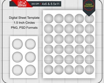 """Instant Download 1.5"""" Circle Template, 4x6 and 8.5x11 print size, Stencils, Scrapbook, BottleCaps, Magnets, Jewelry, PNG - PSD, #C-01.5"""