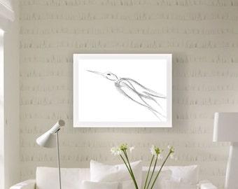 Bird, Art Prints, Charcoal, Art Print Wall, Digital Download