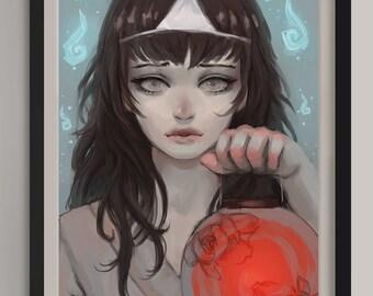 "Peony Lantern - Original Art Print (A3/11.7""x16.5"")"