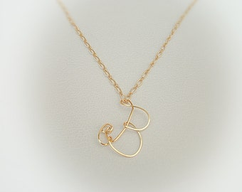 Letter b necklace etsy letter b initial gold pendant and chain necklace custom made calligraphic capital letter necklace mozeypictures Choice Image