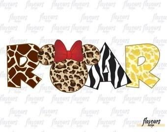 Roar Minnie Animal Kingdom - INSTANT DOWNLOAD - Disney Cruise Animal Kingdom Family Vacation Iron On Transfer - DIY Disney Shirts