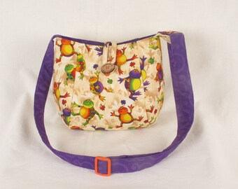 Handmade Fabric Happy Frogs Crossbody Bag