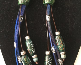 Blue Hand-Crafted, Hand-Dyed, Hand-Painted Leather Wood Beaded Pierced Earrings