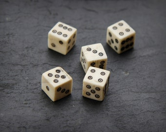 Handmade bone dice, 5pcs