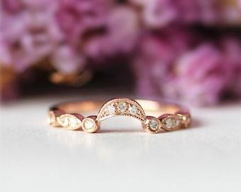 14K Rose Gold Wedding Band Half eternity Diamond Band Curved Band Match Band Chevron Wedding Band Curved Wedding Ring Promoise Ring