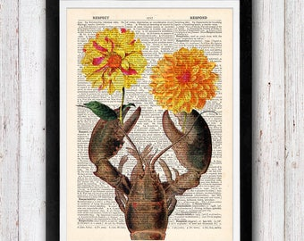 I LOVSTER YOU / Lobster with Flowers Print on Dictionary Page  / Lobster Print on Book Pages Vintage Book Prints