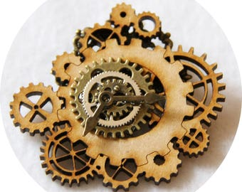 Steampunk gears pin bronze and wood, pin steampunk bronze gears, spindle wood and bronze
