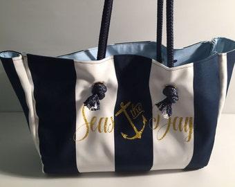 Seas the Day Tote, Beach Bag, Coastal, Nautical, Custom Handbag, Anchor, Cabana Stripe, Sack, Utility, Carryall, Carry On, Luggage