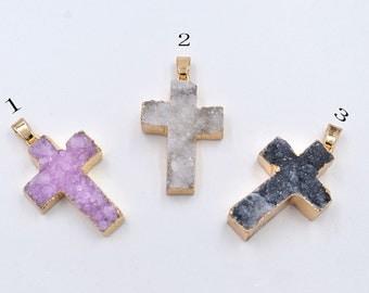 Framed Druzy Stone Cross charm/pendant/necklace