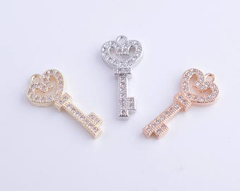 14k gold/rose gold/rhodium micro pave/zirconia/rhinestone key charm/pendant/necklace/connector, 22MM*10MM