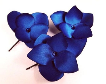 Royal Blue Hair Flowers  Blue Hair Pins Royal Blue Hair Clips Rhinestones Royal Blue Bridal Headpiece Blue Bridesmaids Gift   -  3 pcs