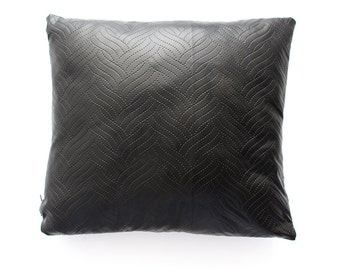 Faux leather pillow cover, cushion cover black with pattern