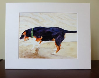 Beagle Watercolor Print, Print with Mat, Ocean, Beagle Lover, Beagle Portrait, Dog Lover, Decor, Good Cause Item, Donation, Animal Rescue