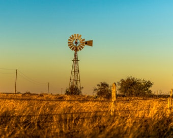 Windmill at Sunset Fine Art Print /Fairy Texas/ Hamilton County / western art/