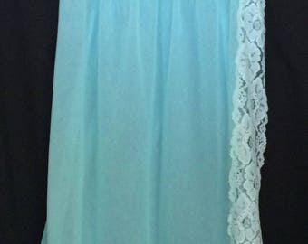 Vintage Aqua Lingerie Nylon Lace Sheer Aqua Negligee By Louis Jean Creations
