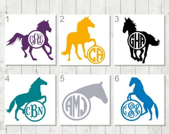 Horse Monogram Decal, Equestrian Decal, Horse Monogram, Horse Tumbler Decal, Horse Lover Gift, Riding Decal, Personalized Horse Sticker