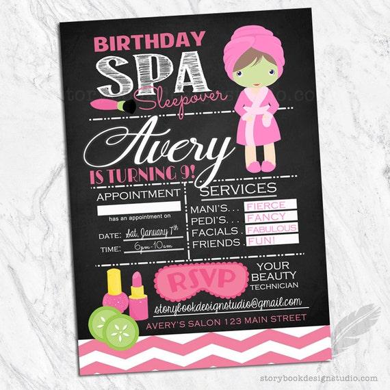 Spa Salon Birthday Party Invitations / Sleepover Hair Nails