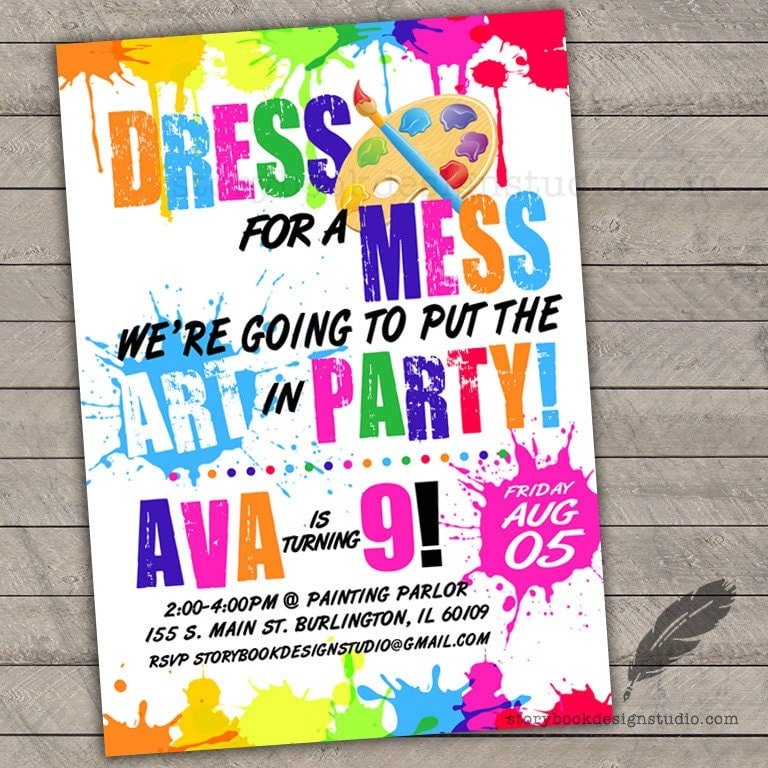 Paint birthday party invitations kids birthday paint for Kids paint party