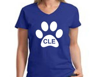 Dog Life in CLE logo Women V-Neck Cotton T-Shirt Deep Royal