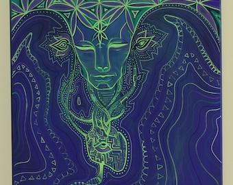 Spiritual neon acrylic painting LOVE TECHNOLOGY
