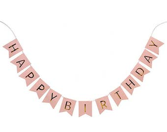 Happy birthday banner bunting in pink, blue, mint green, multi with gold letters | girls boys party | flags | garlands | metallic gold