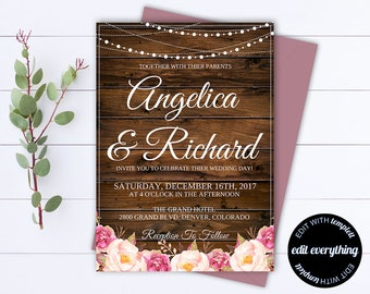 Rustic Wedding Invitation Template - Country Wedding Template - String Lights Printable Invitation - Rustic Invitation Wedding Template