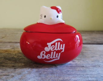 Hello Kitty Jelly Belly Candy Dish with lid Bean Shaped Candy Dish with Hello Kitty lid