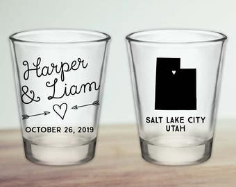 Custom Utah Wedding Favor Shot Glasses
