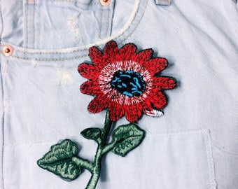 J/red flowers/free shipping sew on embroidery patch