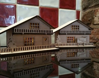 Wooden Swiss Chalet Personalised House Illuminated Christmas Decoration