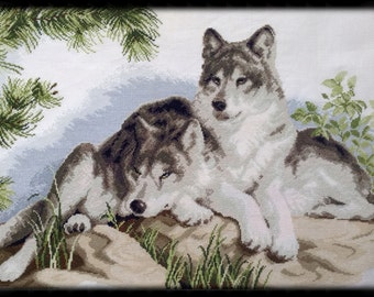 Embroidered picture Wolf picture Embroidered wolf landscape embroidery cross stitch wolf two wolves cross stitch modern living room picture