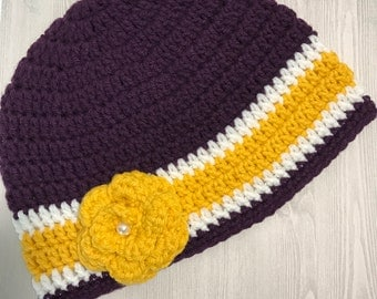 Woman's Team Spirit Beanie / LSU / Vikings / Lakers with flower embellishment. Handmade / Crocheted. Great for gift giving