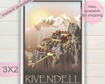 Rivendell city movie digital poster | Minimalist printable wall art decor | Lord of the Rings prints | Retro film & book instant download
