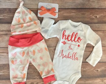 Hello World Customized Baby Girl Coming Home Outfit, Valentines Day, Hearts, Valentines Baby, Newborn Outfit, Baby Name Bodysuit,Baby Shower