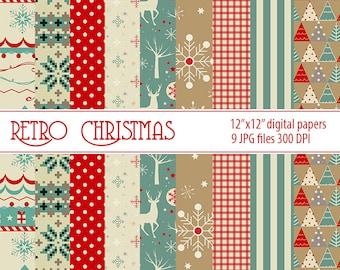 Christmas Retro Digital Paper Christmas Printable Paper Christmas Digital Paper pack Christmas