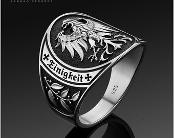 Mens Ring Silver Men Band Ring 'German Federal Eagle' by SANDRO VERARDI /R001