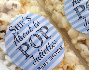 About to pop stickers, she's about to pop, baby shower stickers, baby shower favour, popcorn favour stickers, 032 - Blue