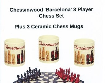LARGE Chessinwood Hand Crafted 'Barcelona' 3 Player Chess Set with 3 Ceramic Chess Mugs