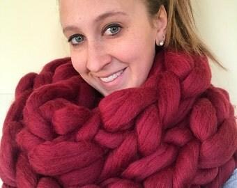 Super Chunky Knitted Infinity Scarf! 100% Merino Wool!