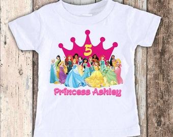 Disney Princesses designed birthday t shirt tshirt personalized