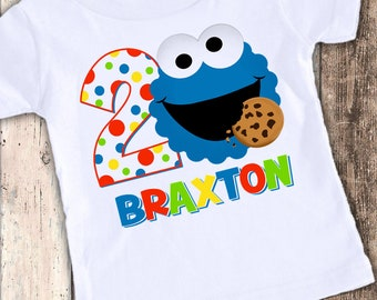 Cookie Monster Inspired custom designed birthday t shirt tshirt personalized
